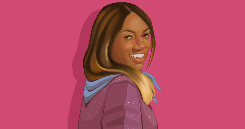 Portrait illustration of Gingie McLeod, founder of Saint Chic, in a mauve shirt against a magenta background.
