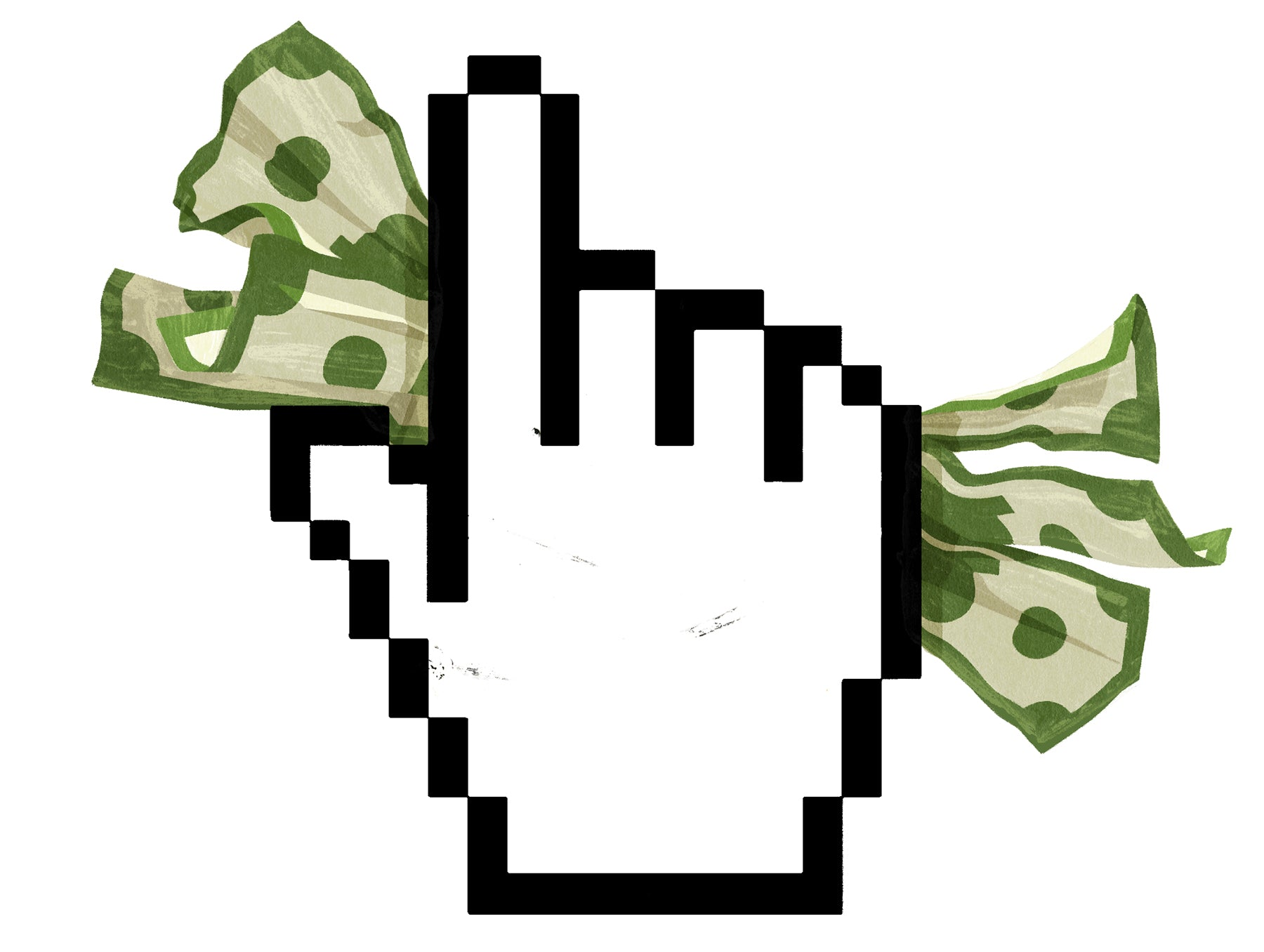 Cursor pointer hand grasps a wad of paper currency