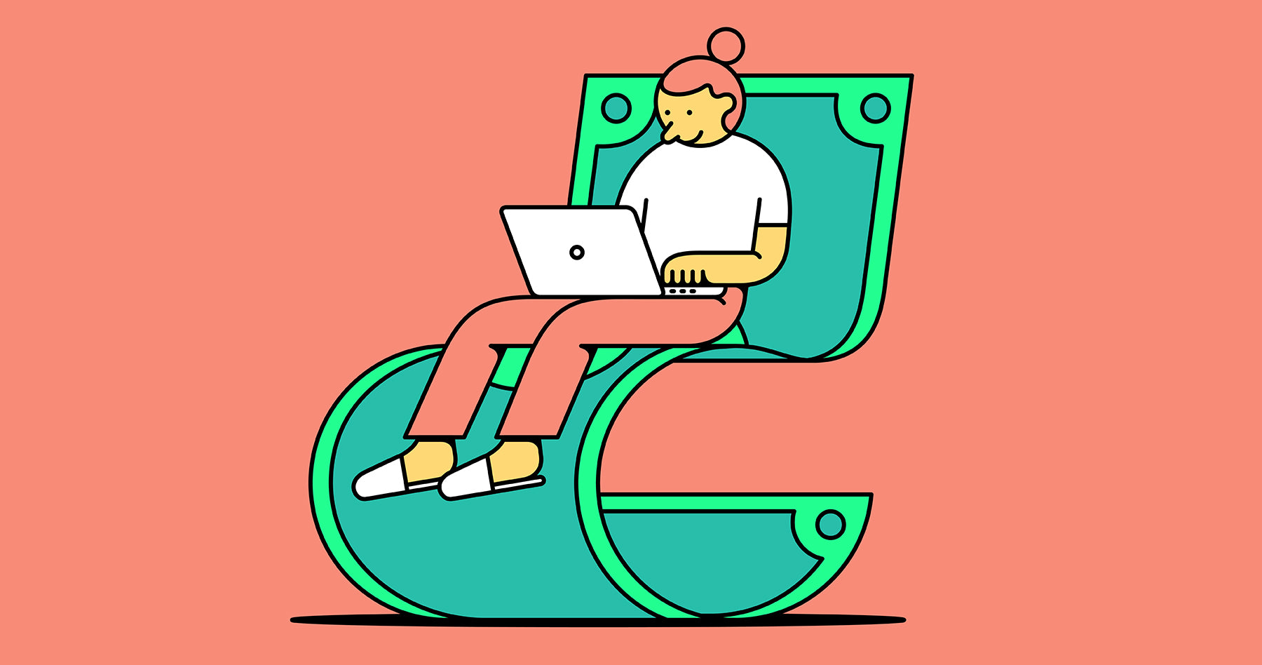 Illustration of a young woman working on a lounge chair made from a dollar bill with laptop on her lap