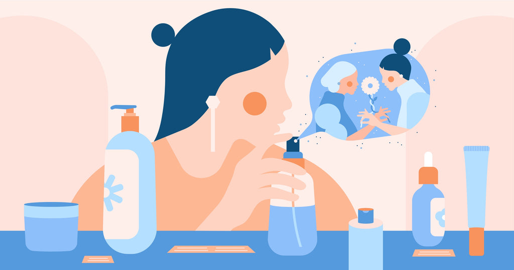 illustration of a woman trying skincare products with two characters interacting inside a perfume cloud