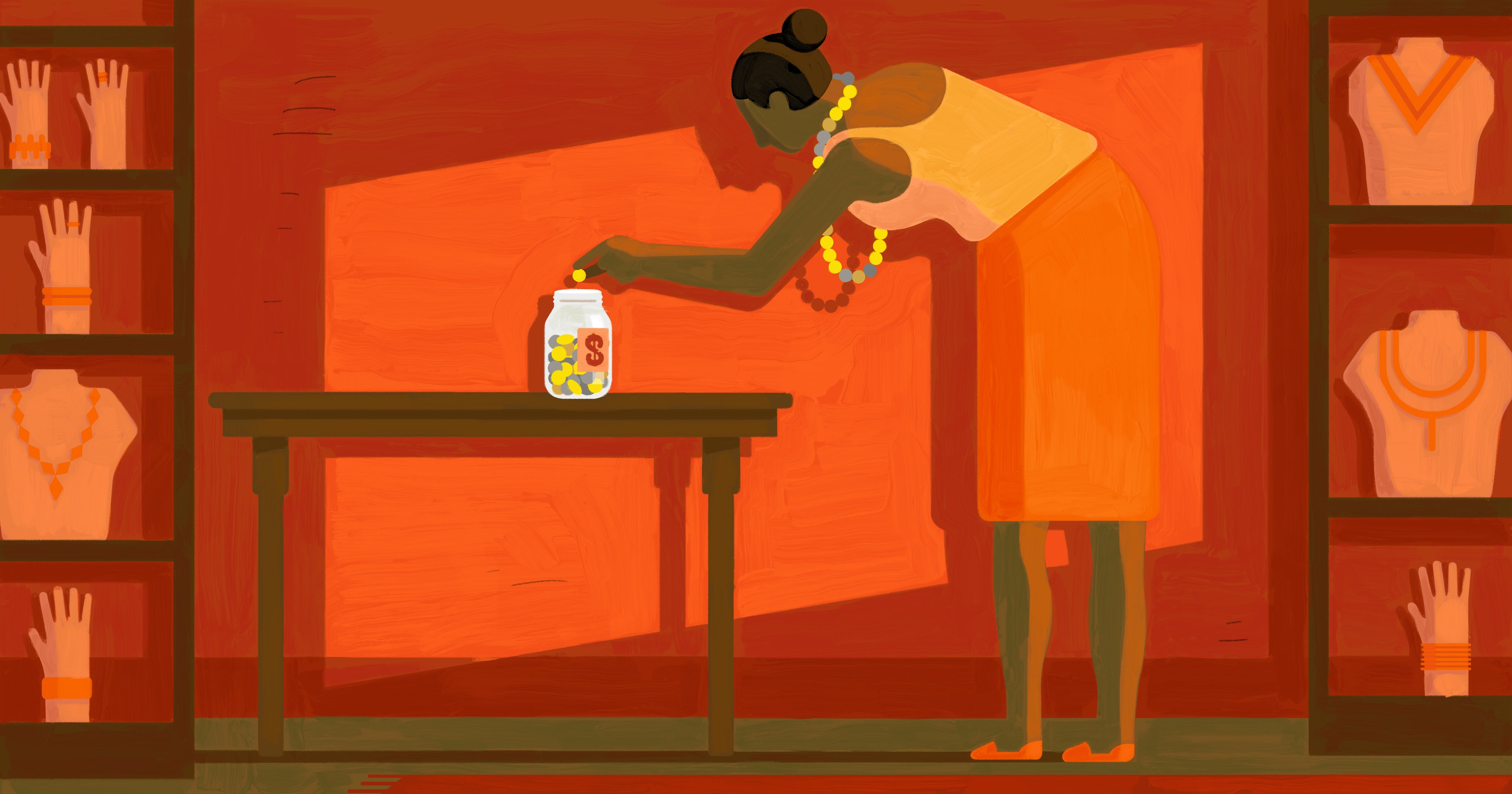 Illustration of a woman counting coins into a jar. The coin shapes are echoed in the beads in her necklace
