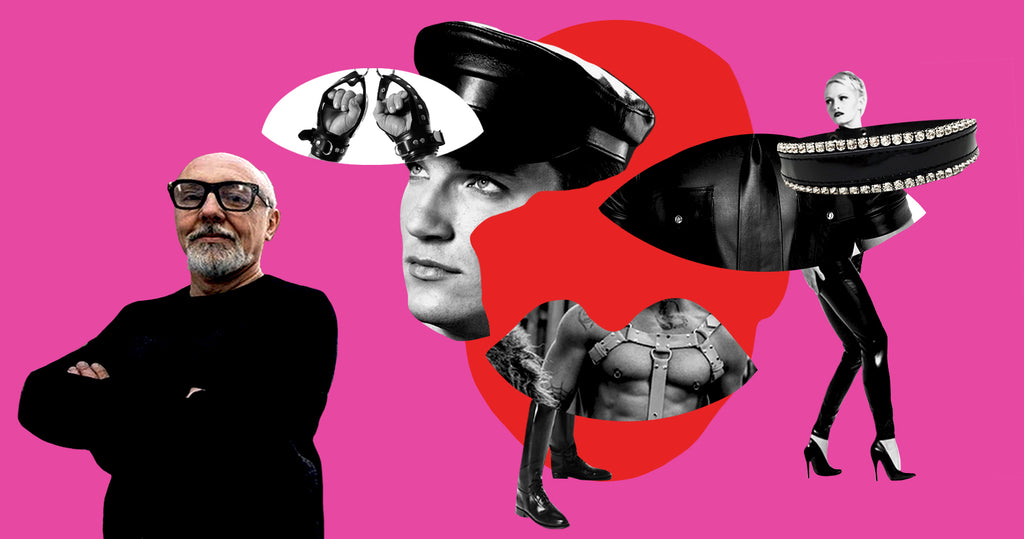 Photo collage of George Giaouris, founder of Northbound Leather, against a bright pink background. Surrounding him are cut outs of two eyes and a mouth placed around a silhouette of a face. Inside each shape is a black and white image of Northbound's leather goods.