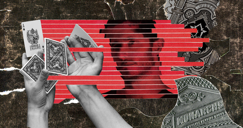 Photo collage of Theory11 founder, Jonathan Bayme. There is a cut out of hands shuffling cards on the left, Jonathan's face, fragmented in red horizontal stripes in the middle and a collage of the ace of space on the right.