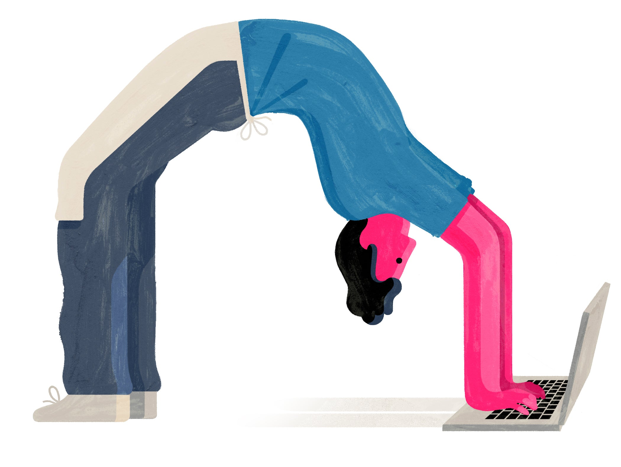 Illustration of a person doing a back bend and using a laptop upside down