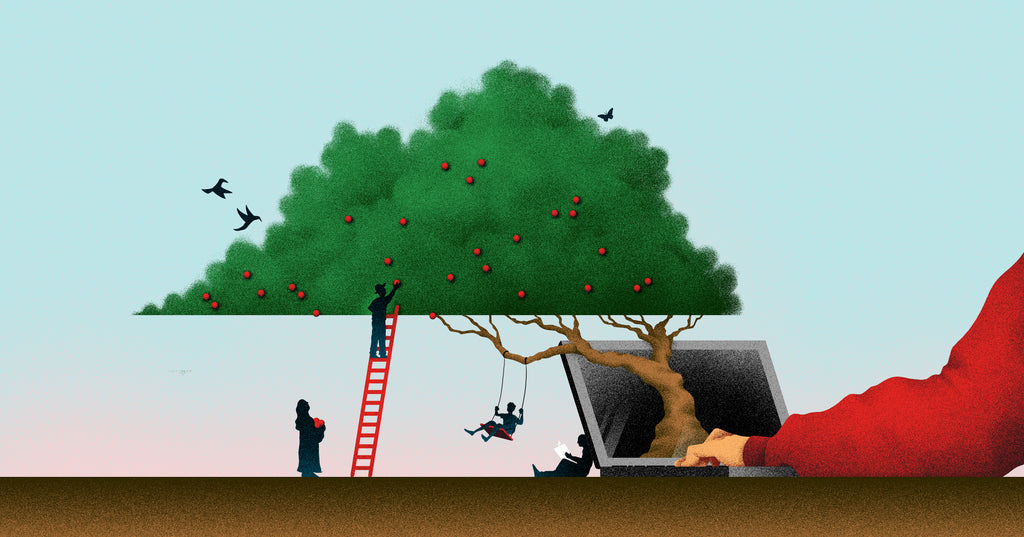 Illustration of a hand typing on a laptop with a tree growing out of the screen. There's smaller figures collecting fruit from the tree, sitting in its shade, and sitting on a swing attached to it.