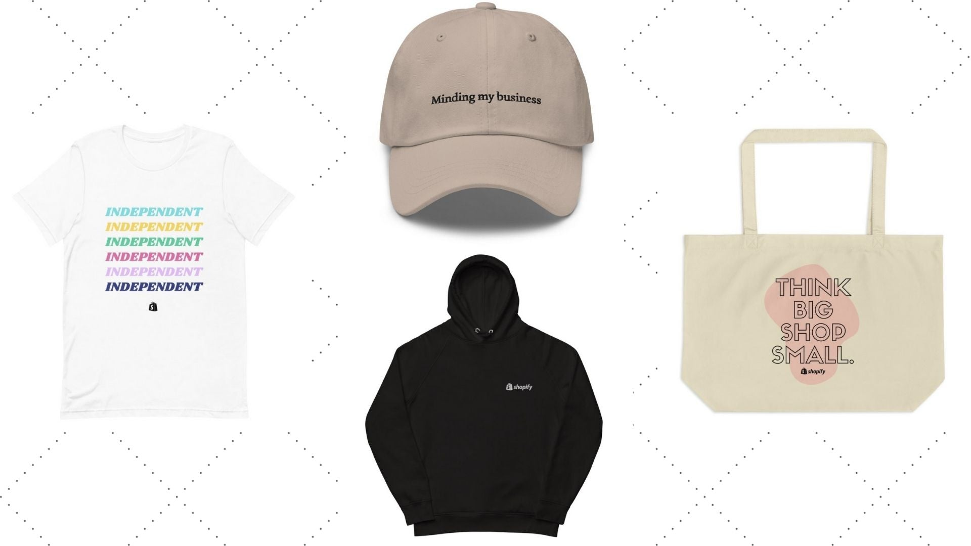 four shopify merch concepts (a dad hat, hoodie, tote bag, and t-shirt)