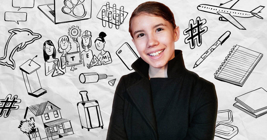 Portrait of young entrepreneur Sophia Fairweather with a series of illustrations drawn around her that reflect her business, goals and achievements.