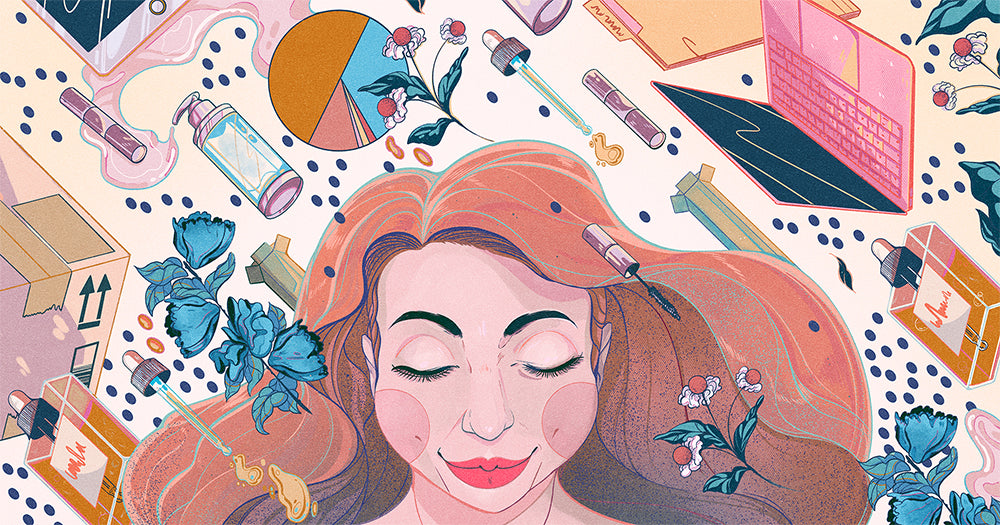 Illustration depicting a founder of a skincare line. A person's head is surrounded by imagery of beauty products and business items