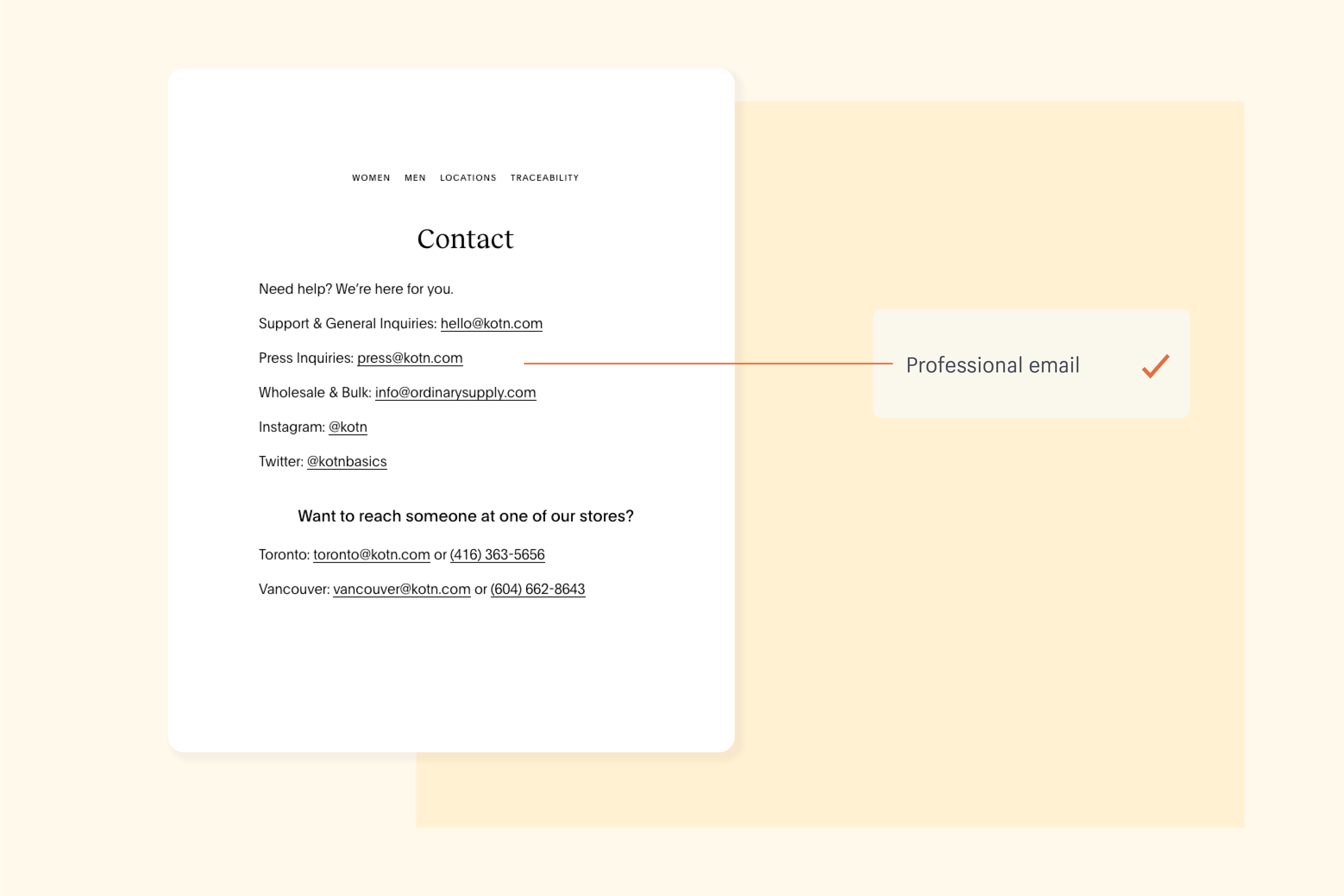 An example of Kotn's Contact page and how it builds customer trust with multiple customer support options
