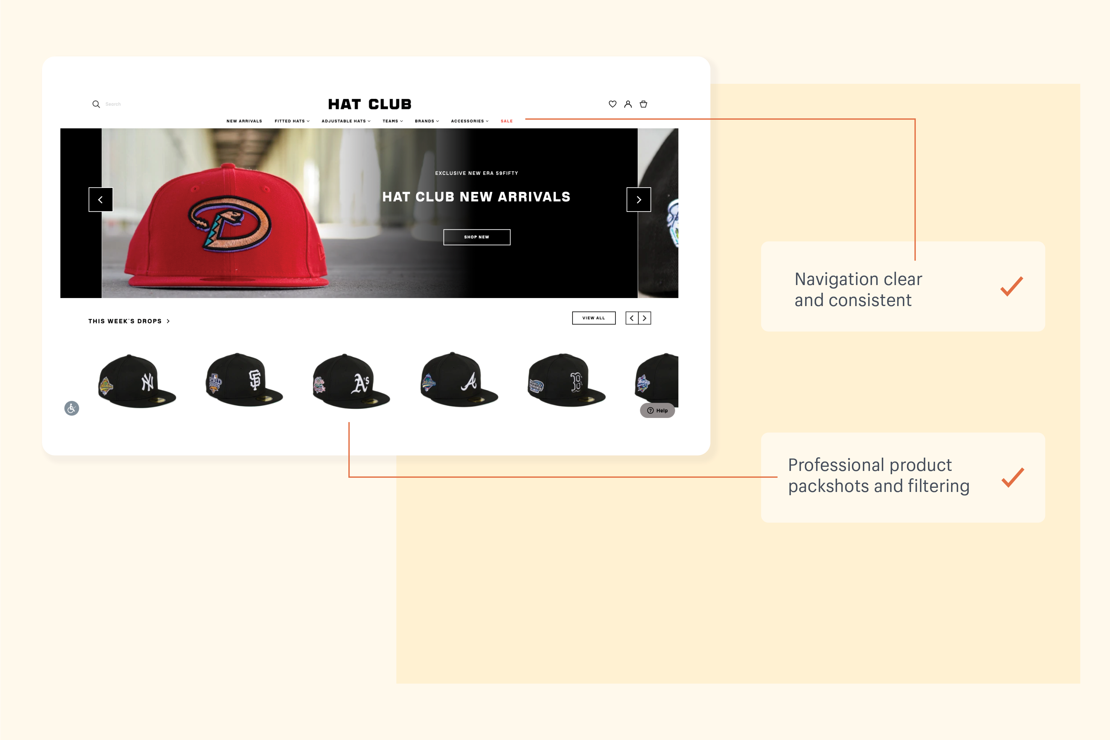 An example of how Hat Club builds customer trust with their homepage