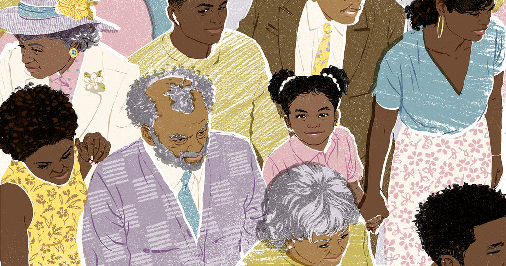 Illustration of a group of black community members with a little girl looking directly at viewer while her mother holds her hand.
