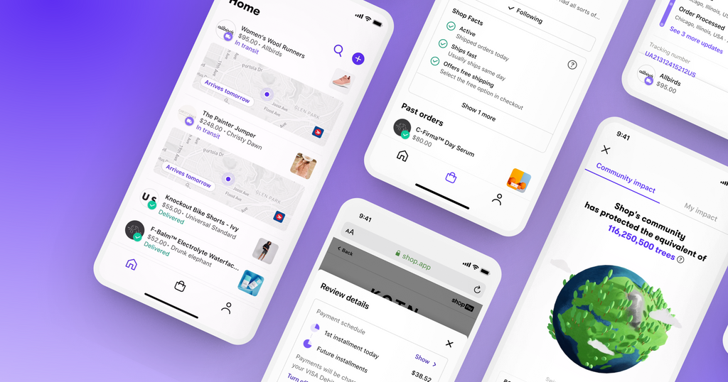 Four phones lay horizontally on a purple gradient background. Each phone screen displays a different view of the Shop app.
