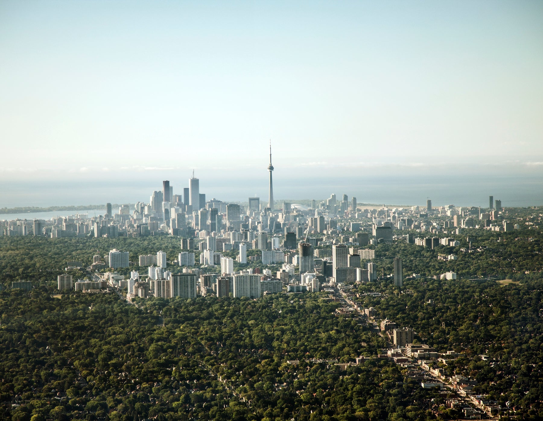 Aerial photograph of Toronto, Canada, facing south towards Lake Ontario.