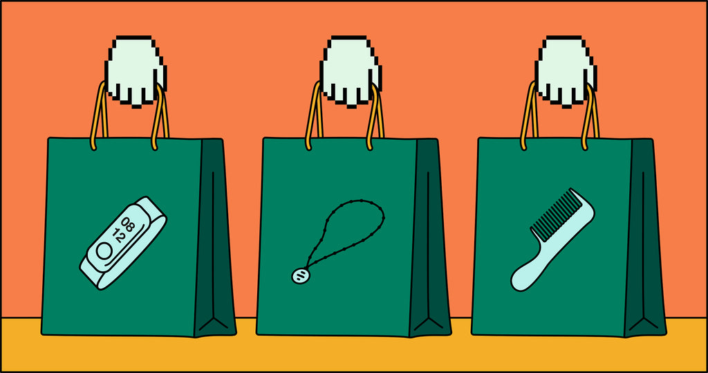 Illustration of three shopping bags with icons on the front representing trending products