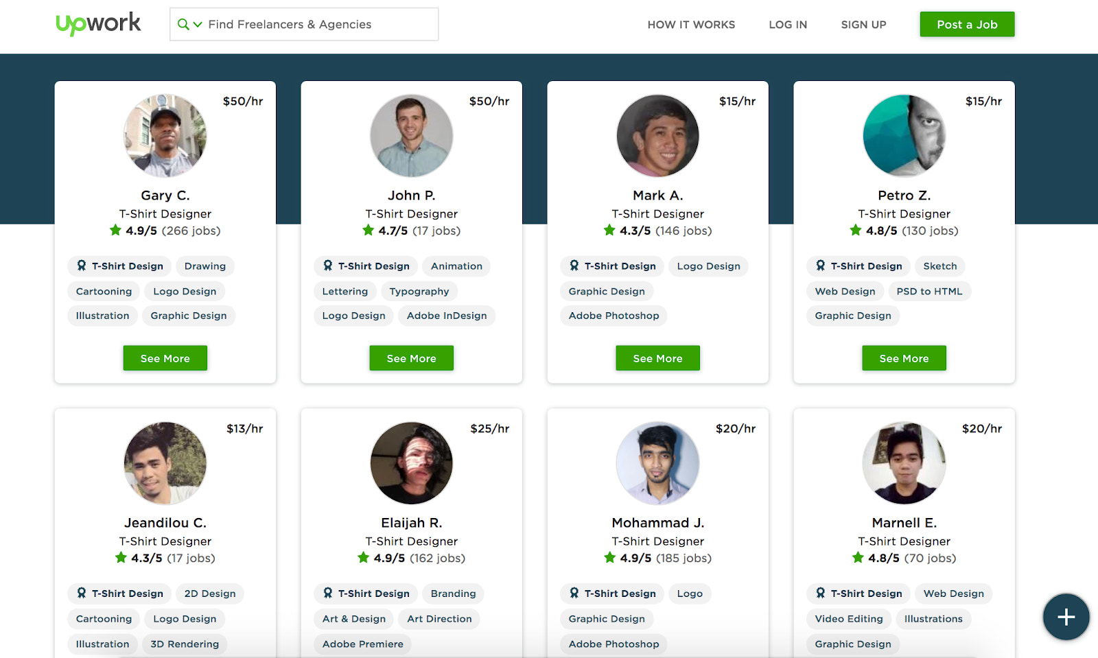 T-shirt designers for hire on Upwork
