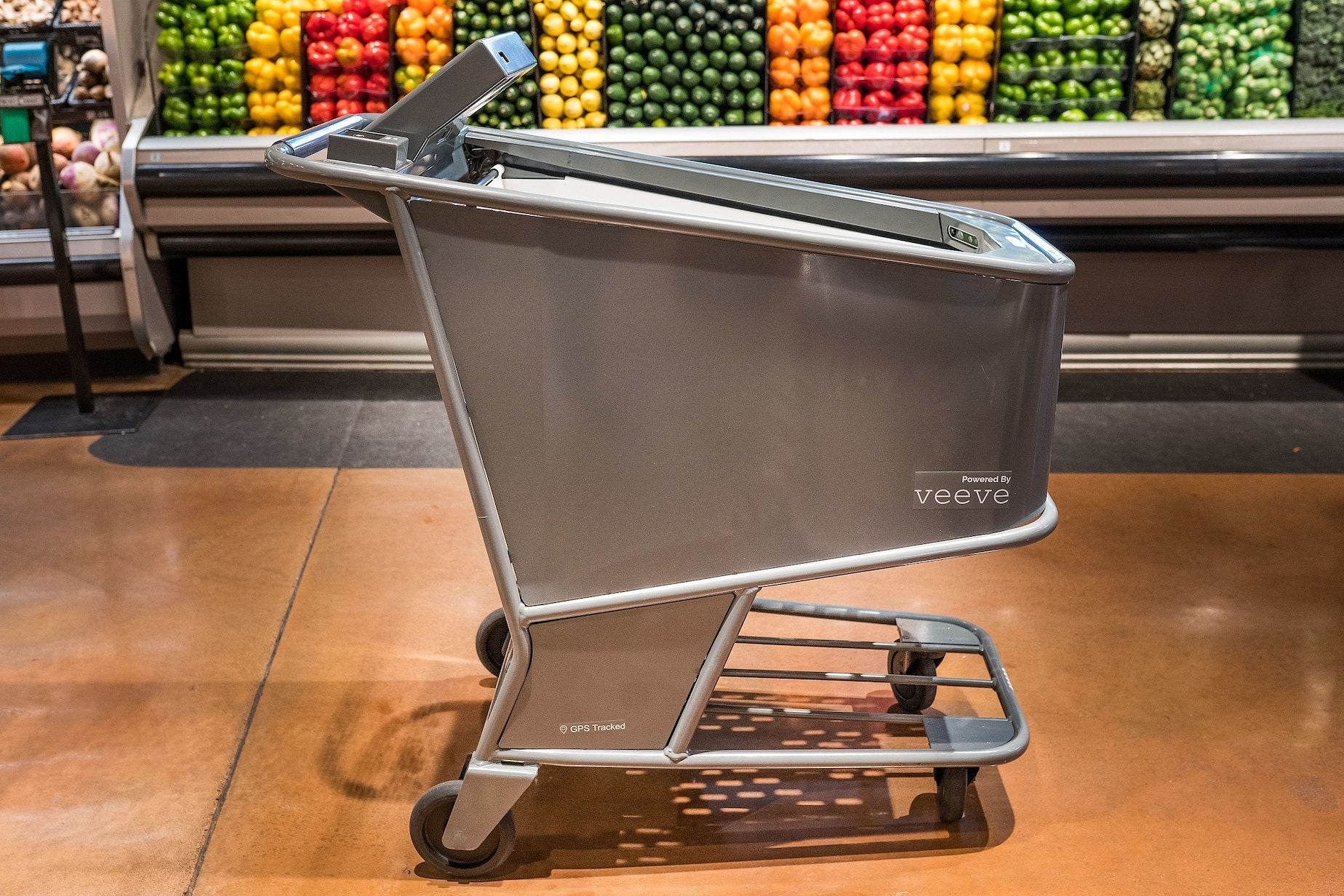 Veeve AI powered shopping cart pictured in a grocery store