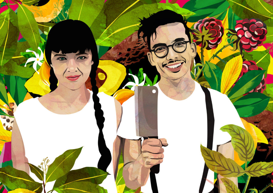 Illustration of Aubry and Kale Walch, founders of The Herbivorous Butcher, standing amongst lush, colourful plant life. Kale is holding up a cleaver.