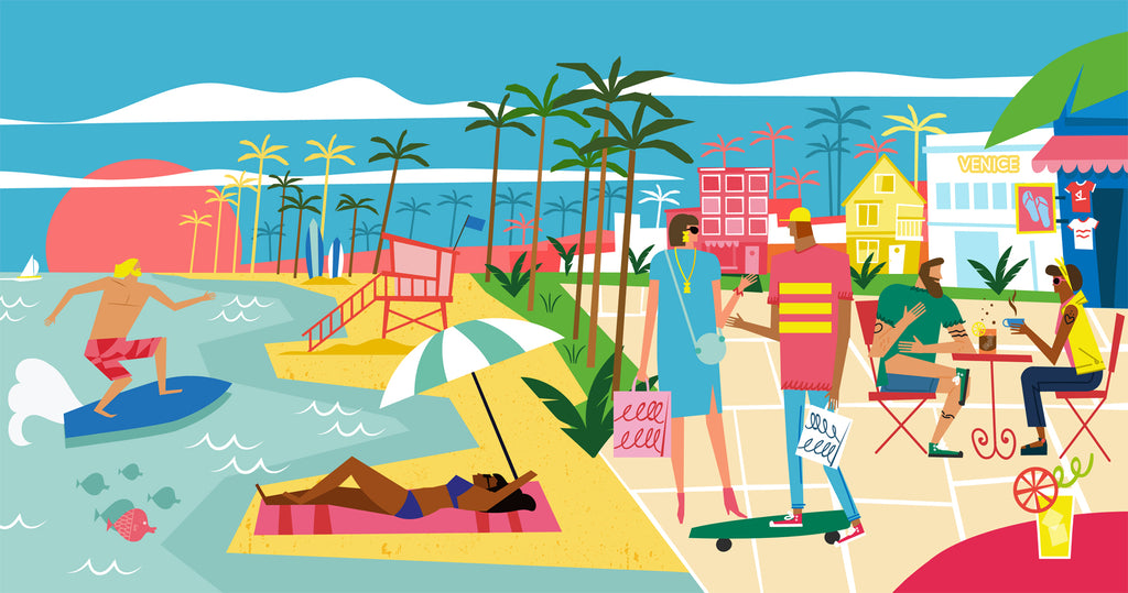 Illustration of Venice Beach, California