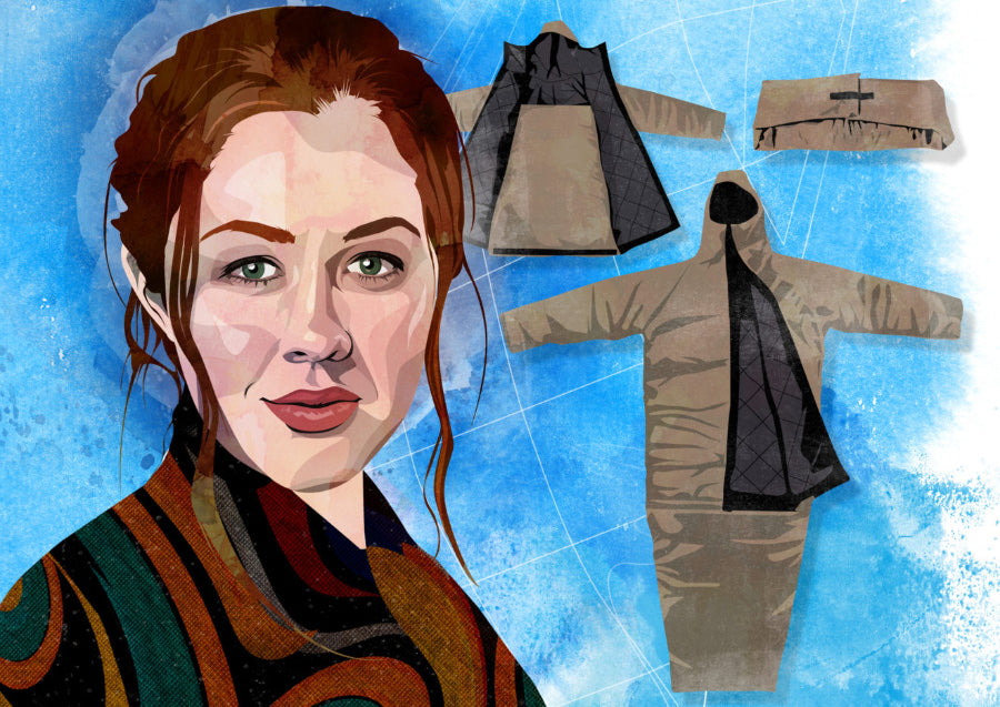 Illustration of Veronika Scott, founder of The Empowerment Project. Her EMPWR coat is visible in the background as a coat and as a sleeping bag.