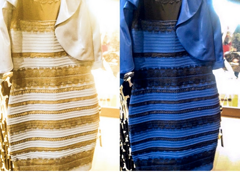 White and gold dress next to black and blue dress