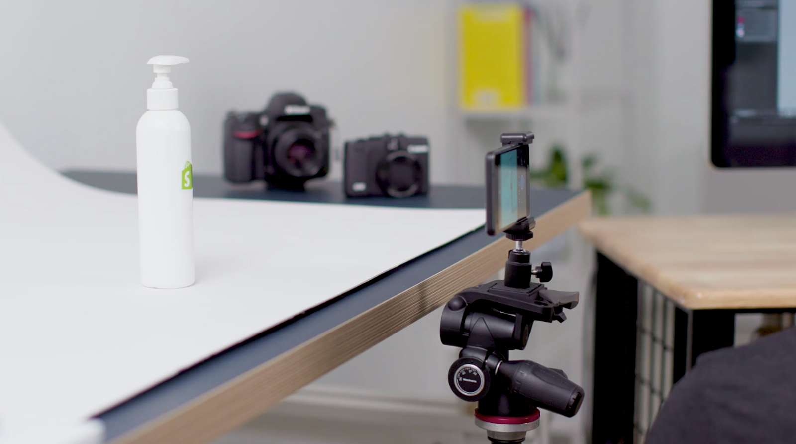 White backdrop for product photoshoot with smartphone