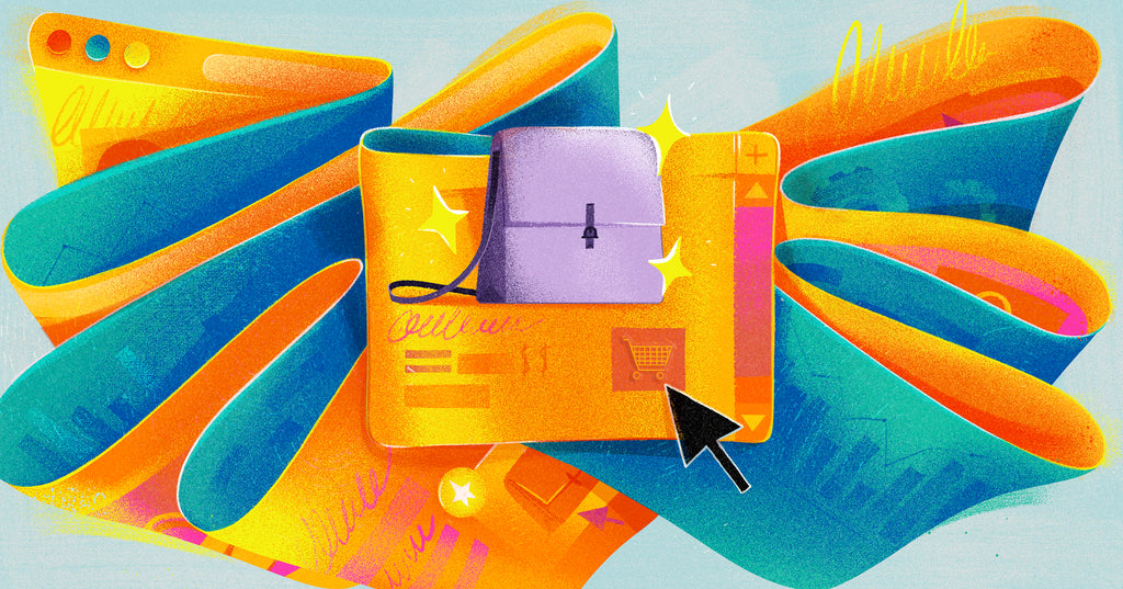 """Illustration of colorful ribbons formed from browser windows with the center displaying a handbag with an mouse clicking the """"add to cart"""" button"""