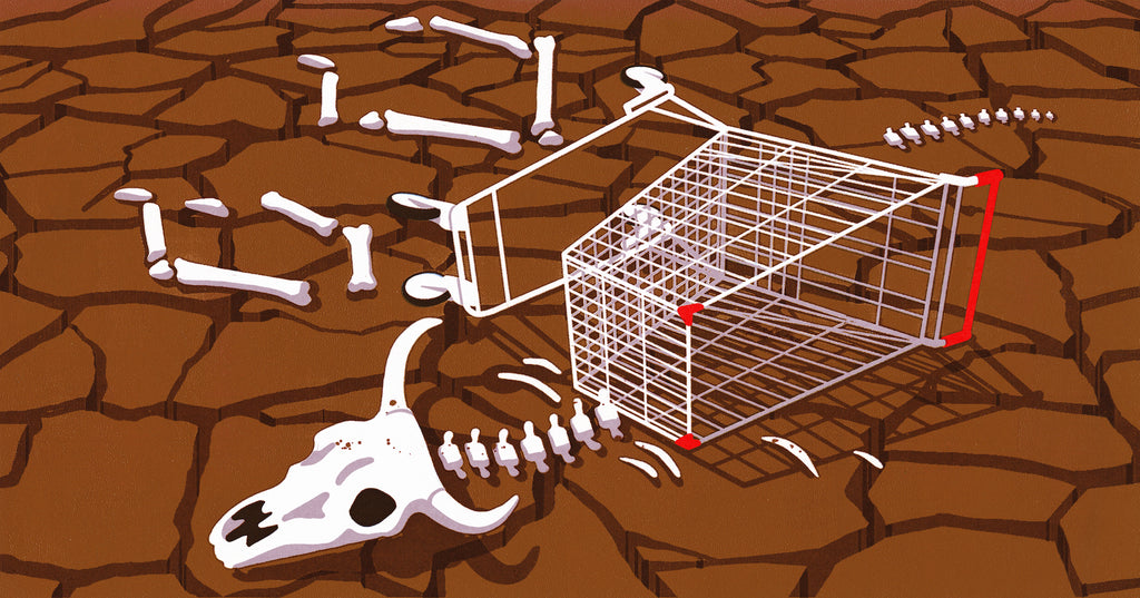 Illustration of a skeleton in a desert in the shape of an abandoned cart