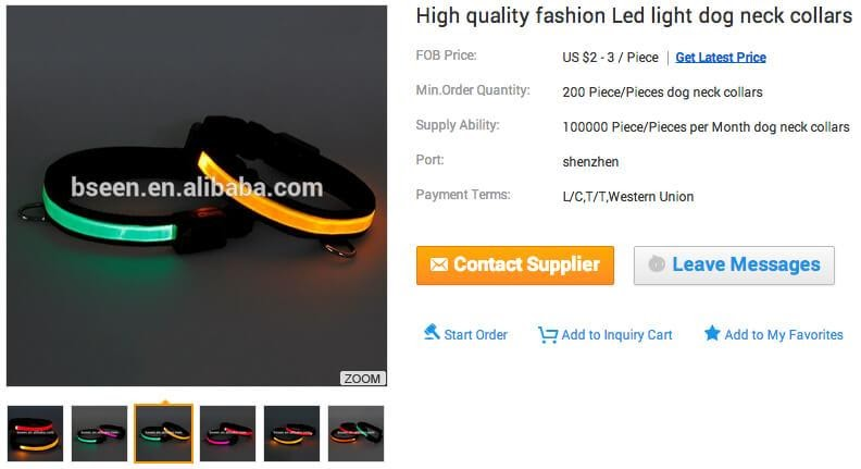 Alibaba product page
