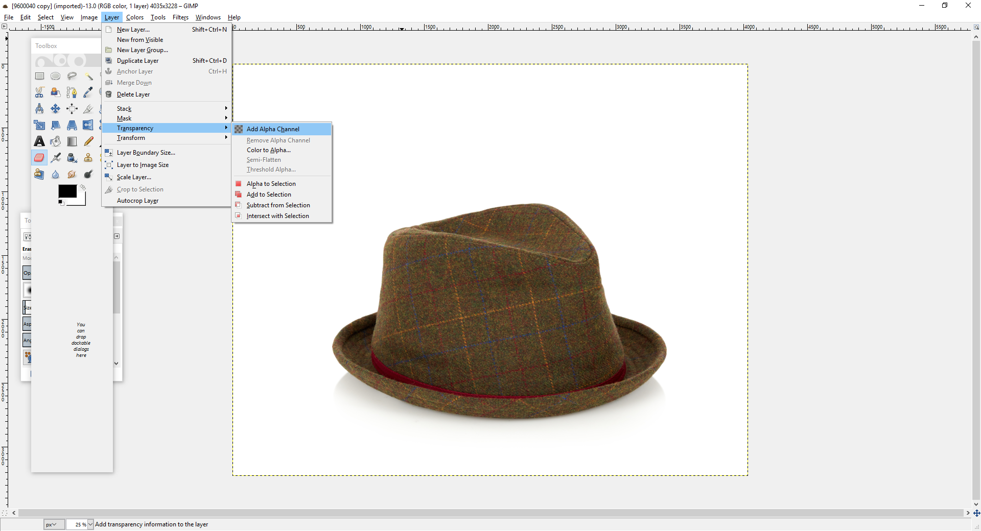 how to get a clear background in gimp