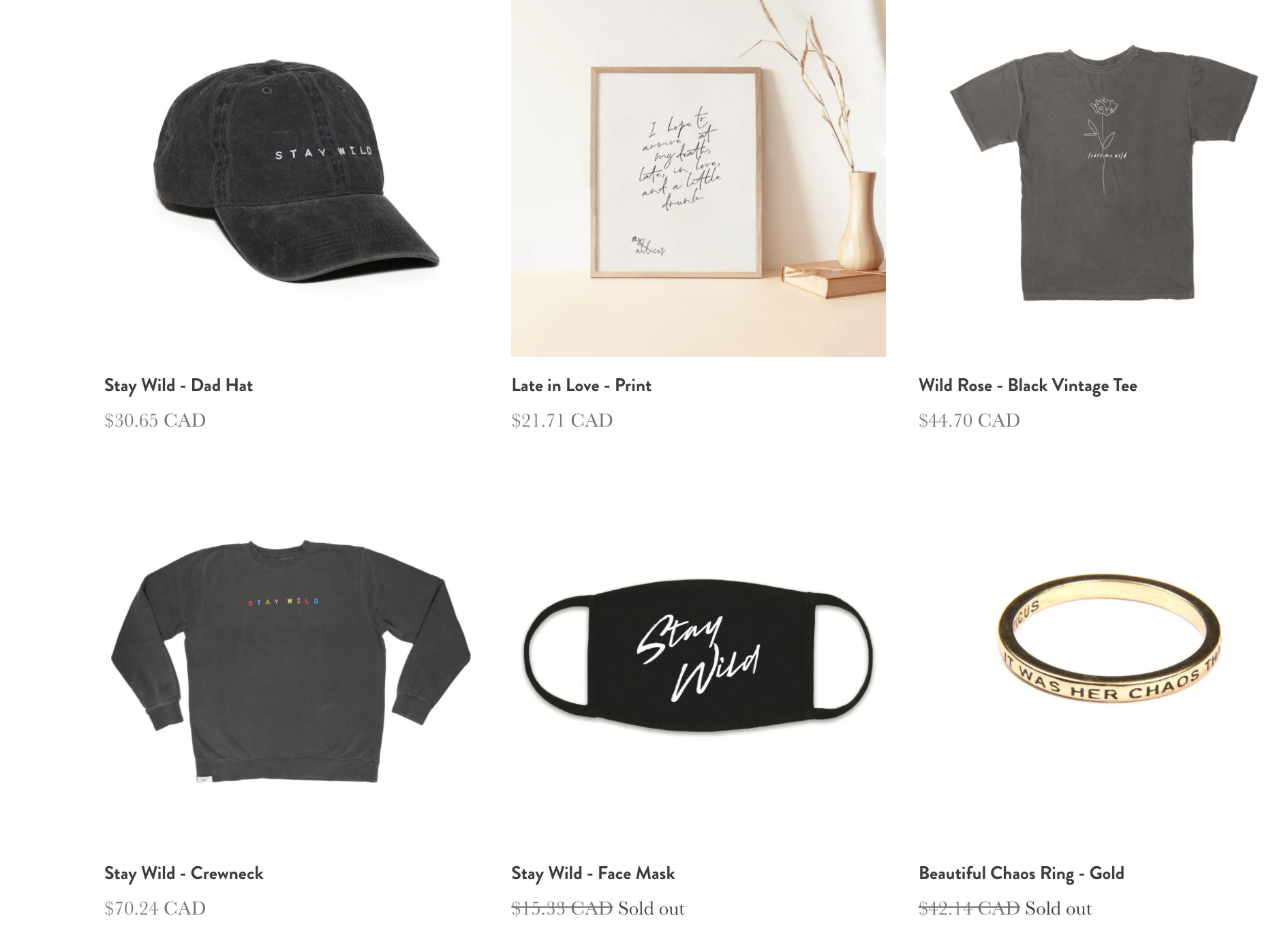 atticus's merch store, which sells dad hats, prints, rings, and more