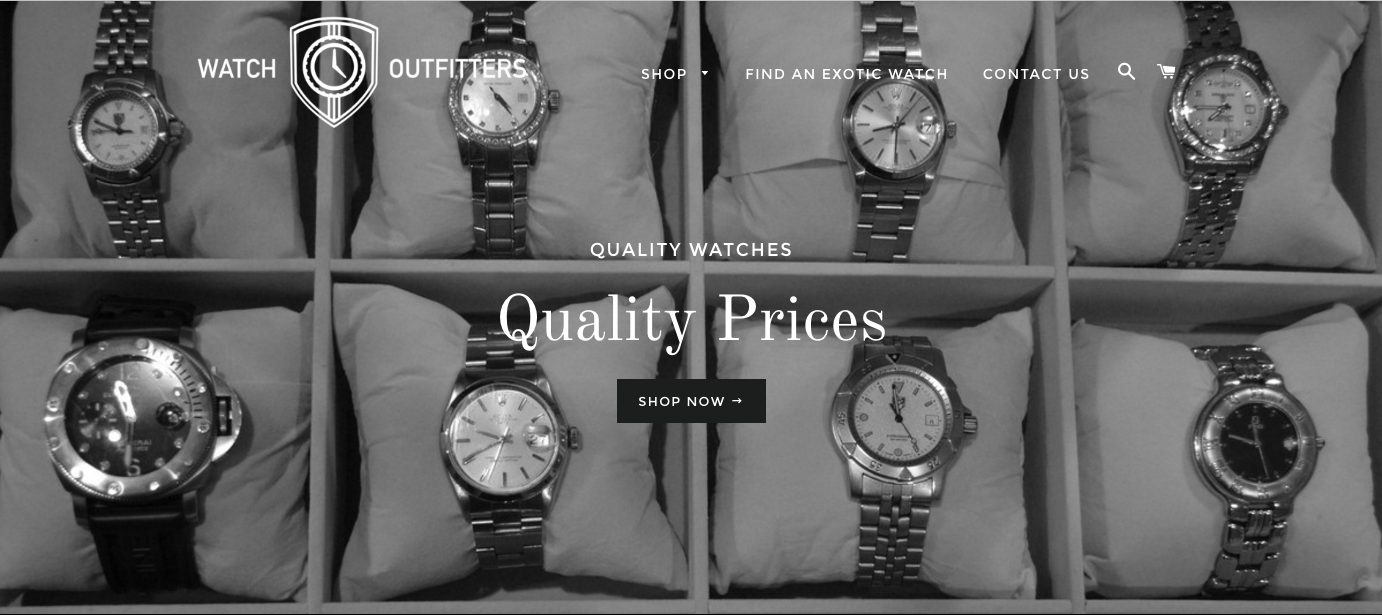 Screenshot of Watch Outfitters website