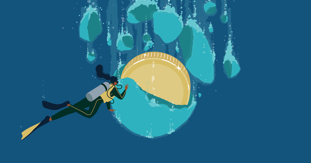 Illustration of a woman diver finding gold discovered hidden in a large bath bomb, showcasing how bath bombs are a popular (and profitable) product category