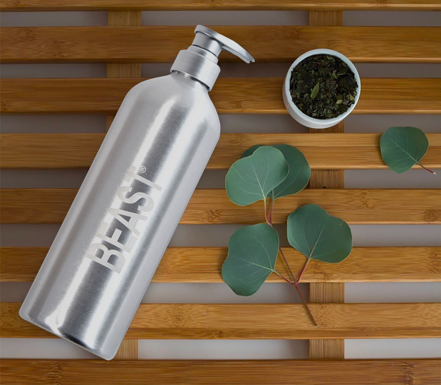 The reusable bottle by Beast made from recycled products.