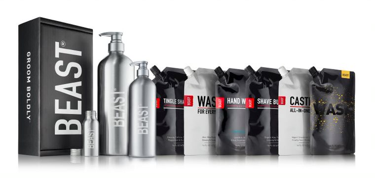 Beast's lineup of products in low waste packaging along with reusable bottles.