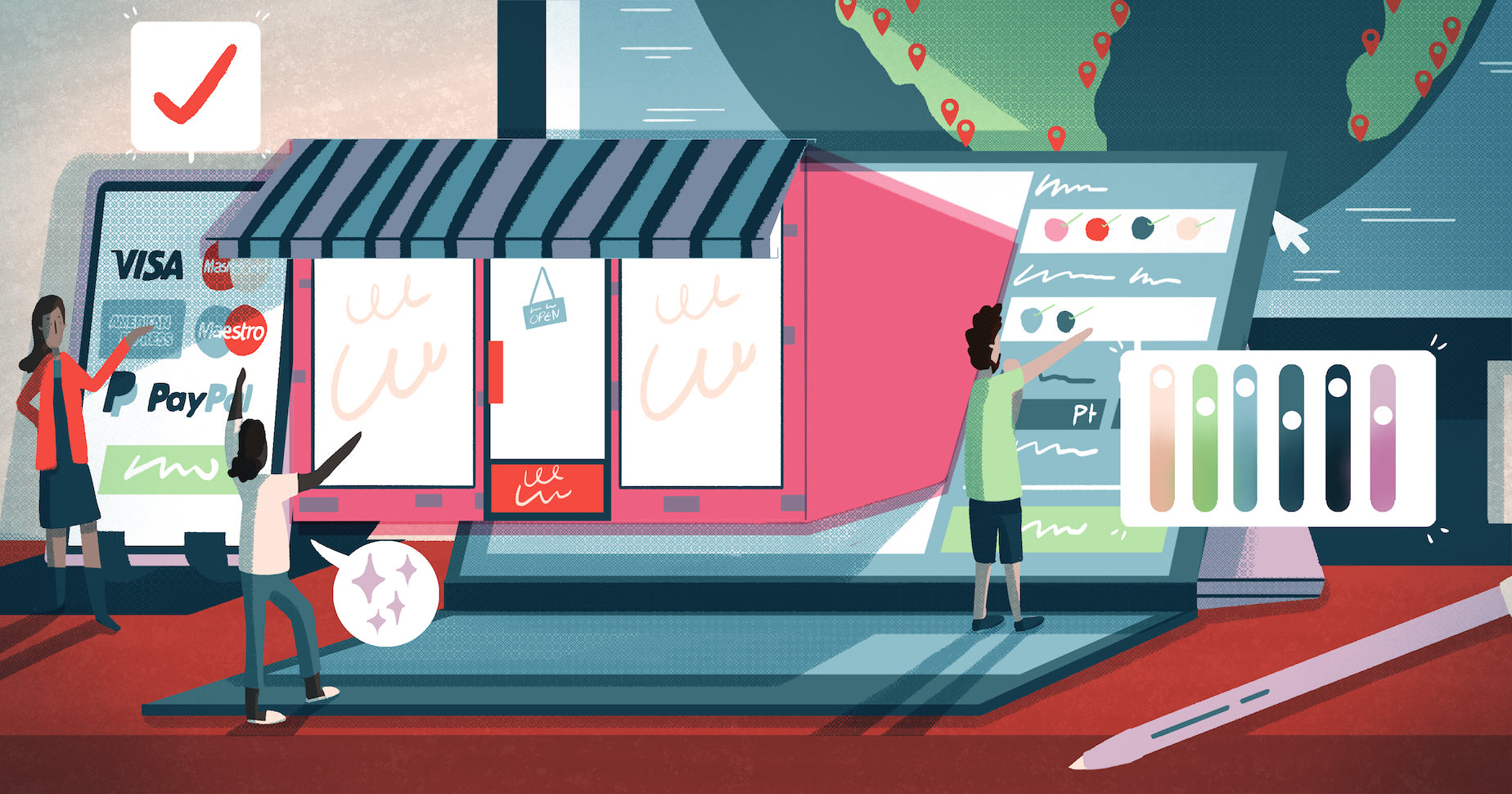 Illustration of a storefront being projected from a laptop, representing how the best ecommerce platforms help you meet your customers wherever they are