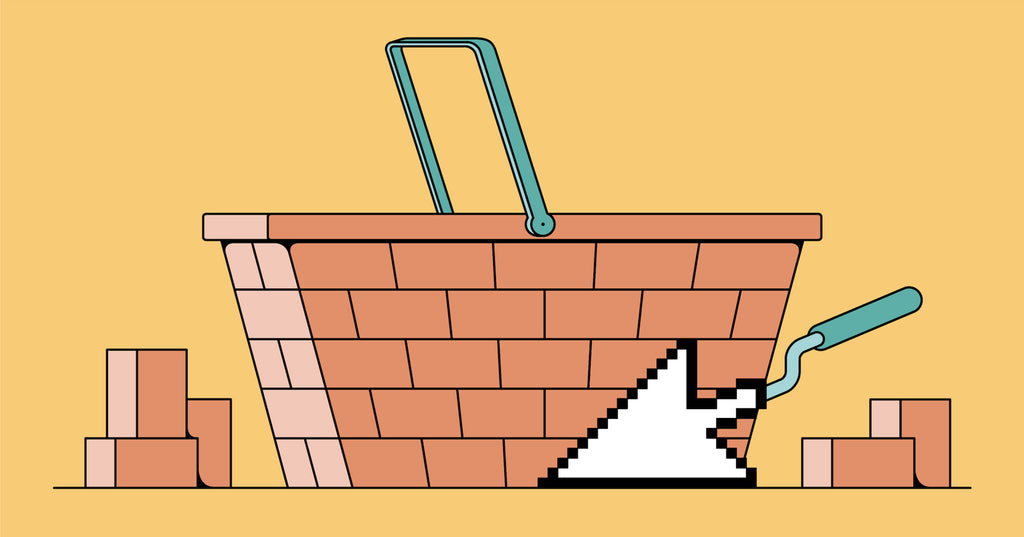 Illustration of a basket made out of bricks and mortar, showcasing how an ecommerce website builder can help you construct an online store
