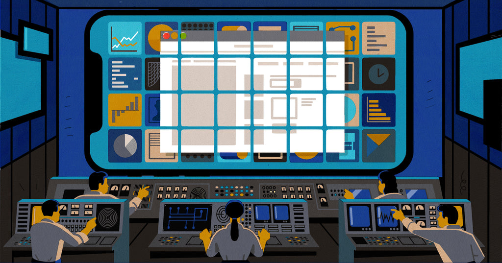 Illustration of a business owner looking at a larger set of screens, which signifies that your website builder is like your business's headquarters