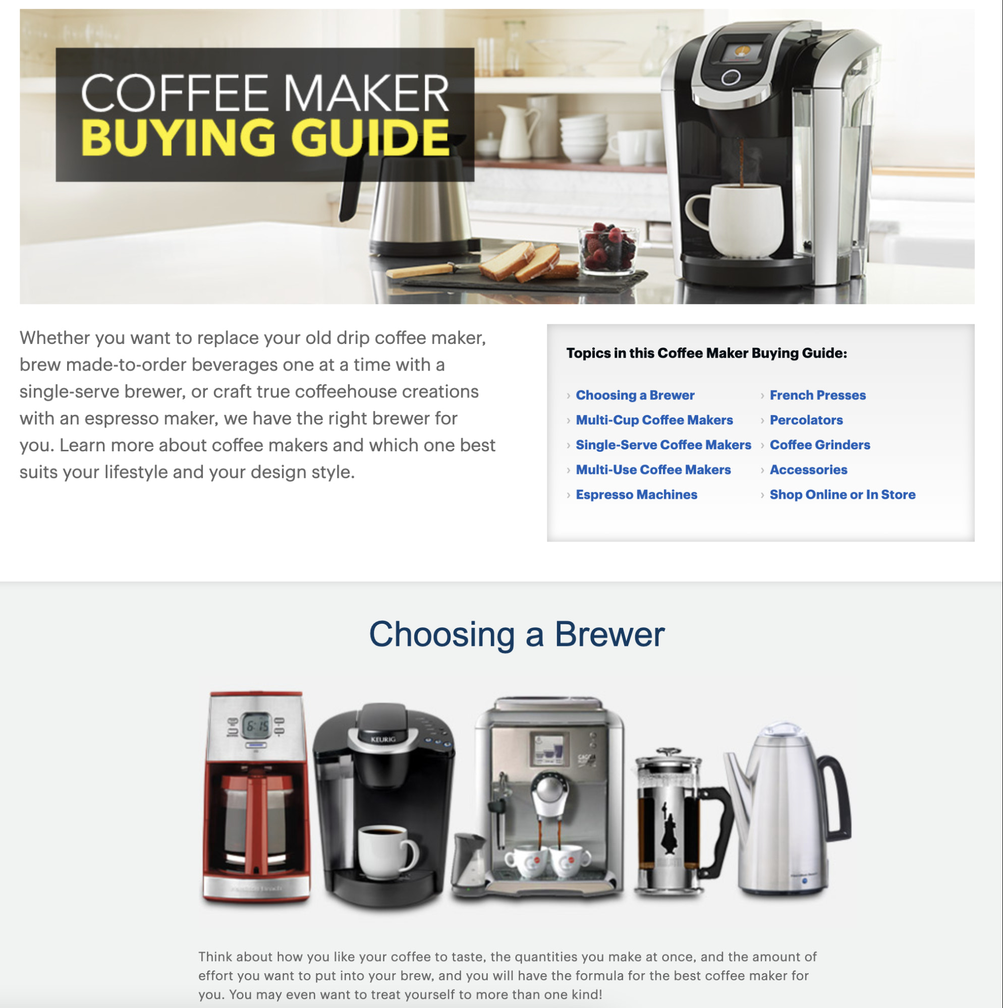 coffee maker buyers guide example by best buy