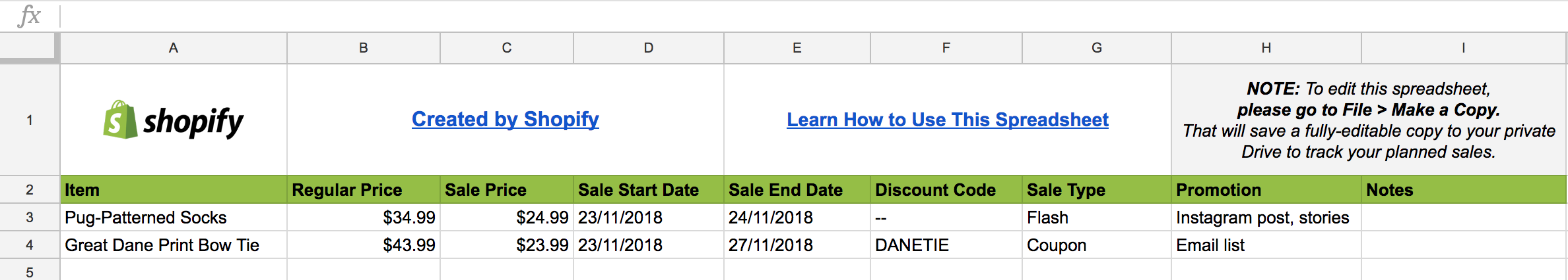 A planning spreadsheet for your BFCM sales