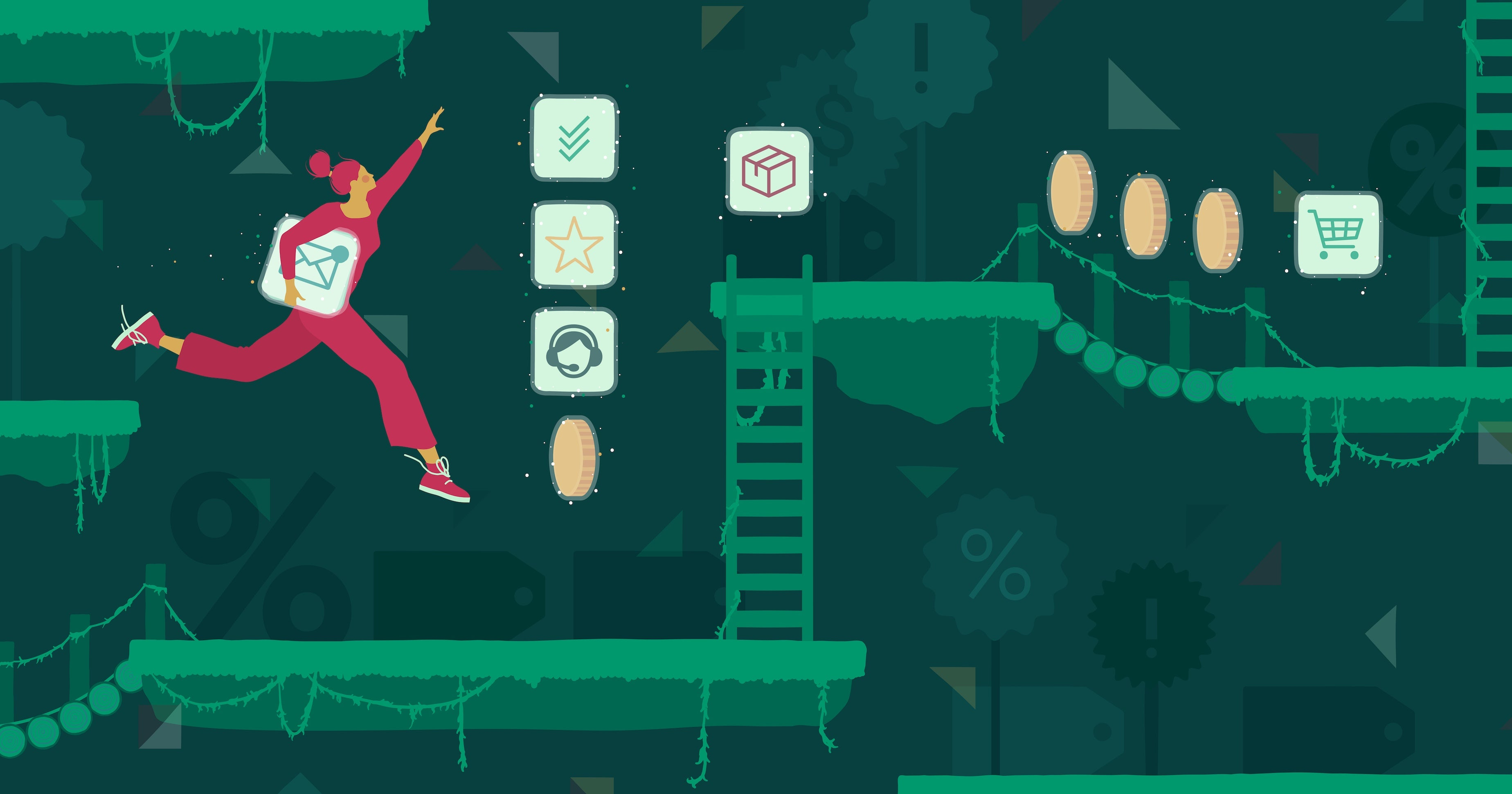 Illustration of a woman navigating obstacles in a video game and collecting apps