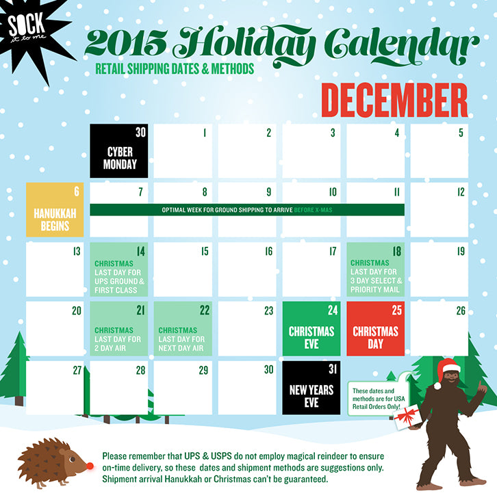 BFCM Holiday Shipping Calendar