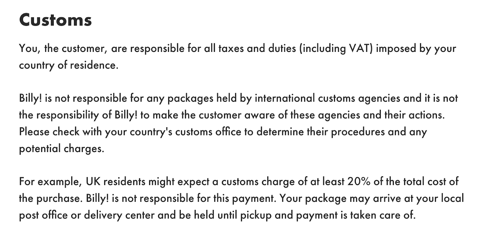 A look at Billy!'s informational international shipping policy page.