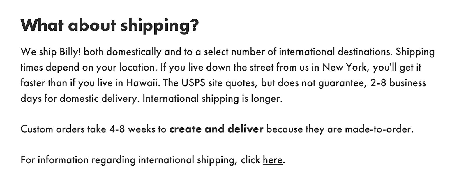 Billy!'s shipping FAQ