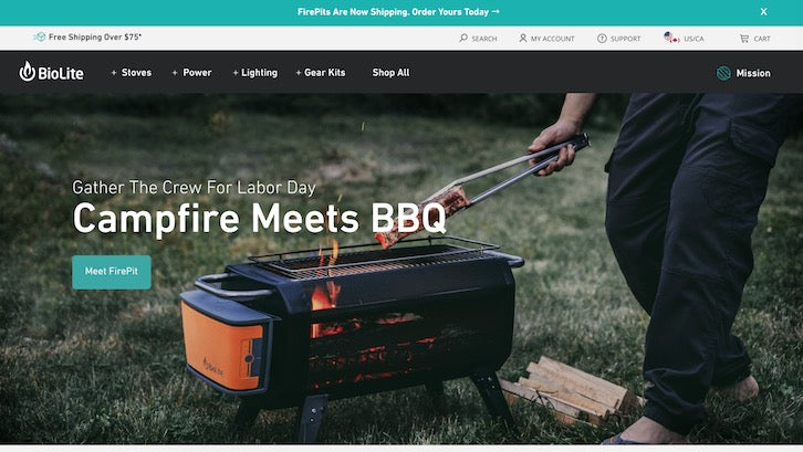 682c06552 BioLite turns cookware into an outdoors experience with big photography all  over their Shopify store.