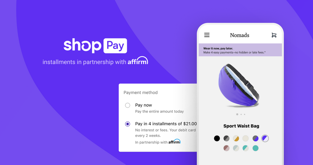 Shop Pay Installments logo and payment