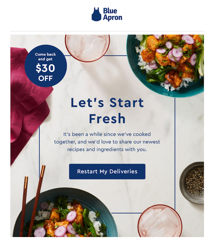 7 automated email campaigns that win customers and keep them coming back the first email highlights a 30 offer for resubscribing to the meal kit delivery service today fandeluxe Choice Image