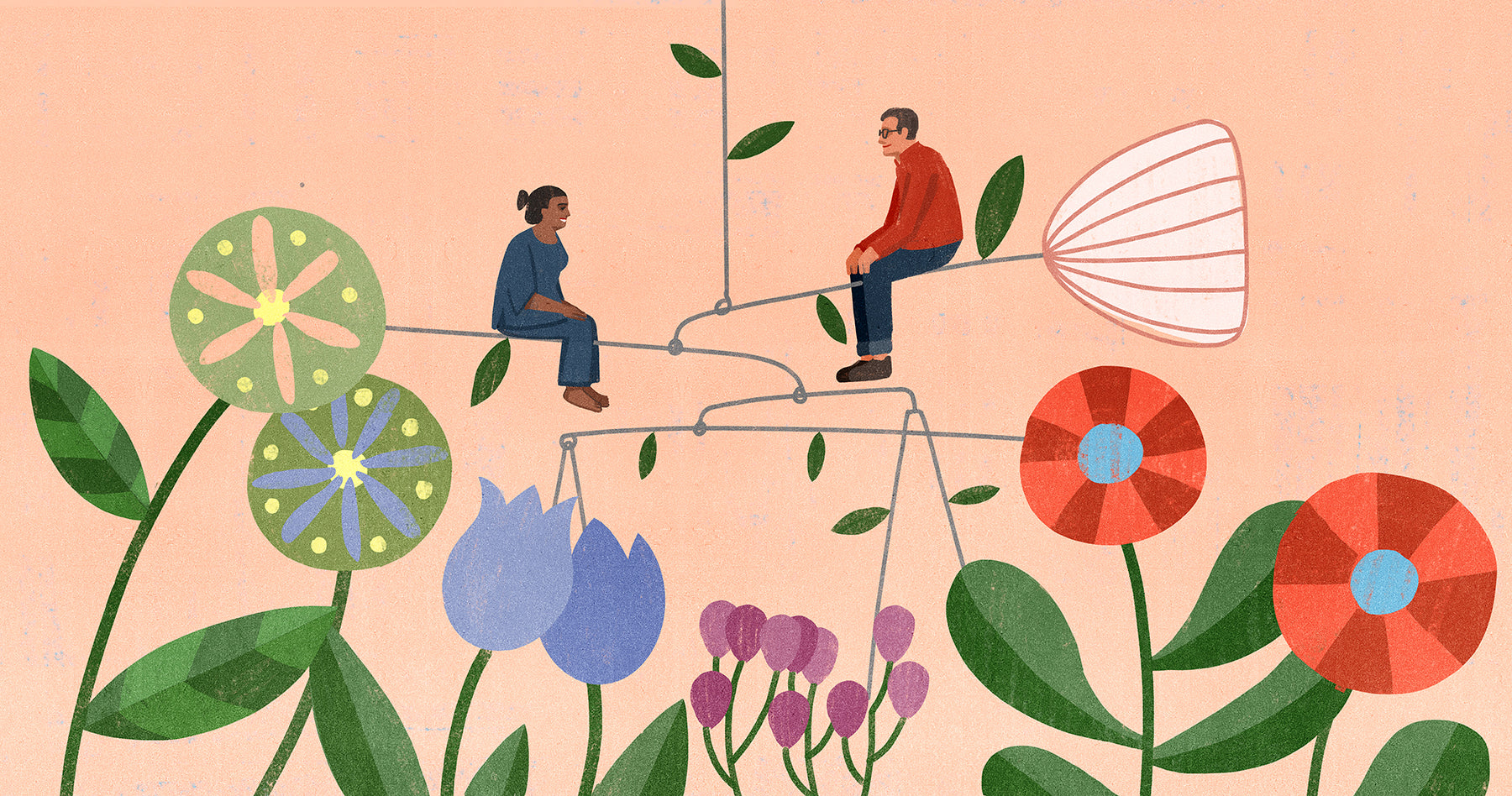 Illustration of Bookhou founders Arounna and John, sittting on a mobile similar to the wooden fixtures that John fabricates. Surrounding them are patterns that are indicative of Arounna's hand made blankets and handbags.