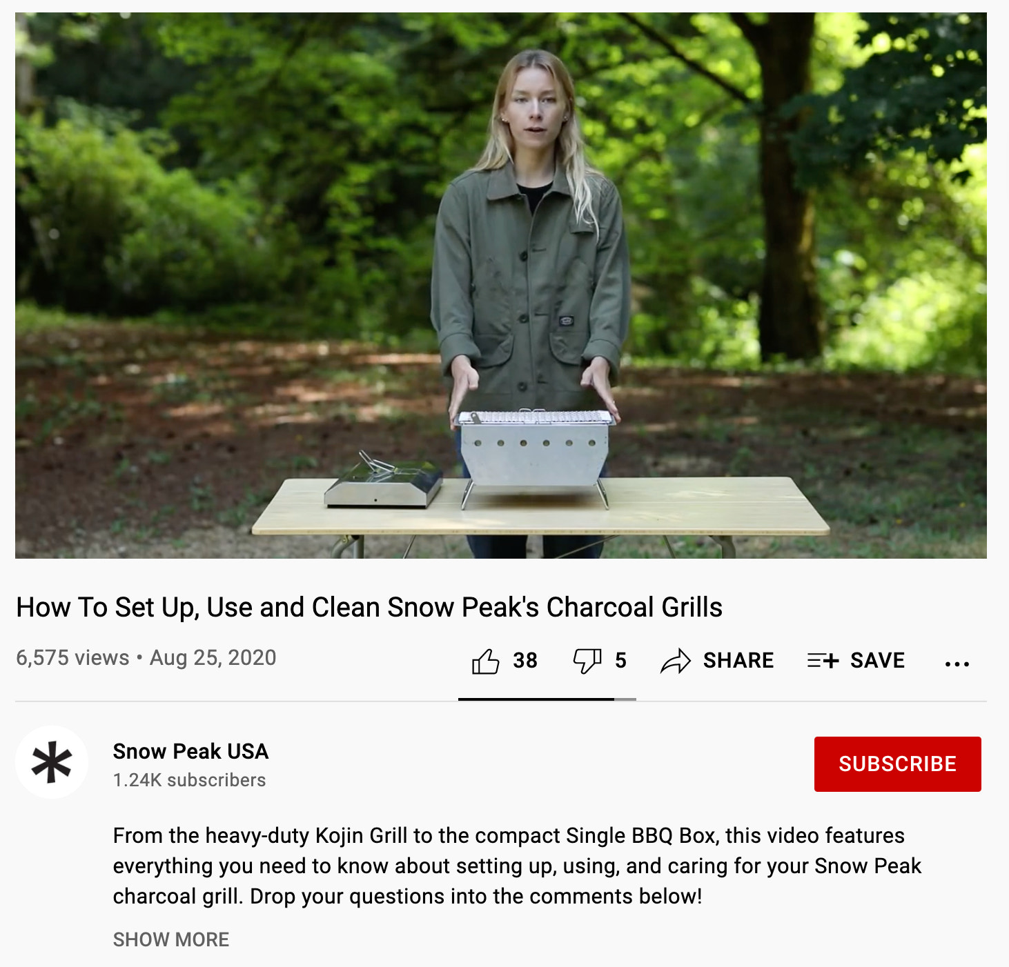 YouTube Channel, Snow Peak USA, example of a brand product tutorial video