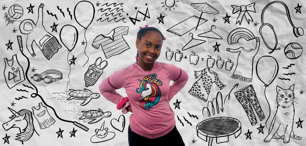 Portrait of Brianna J, founder of Brianna's closet. Surrounding Brianna's portrait are illustrations of her business, her activities, her interest and her future goals.