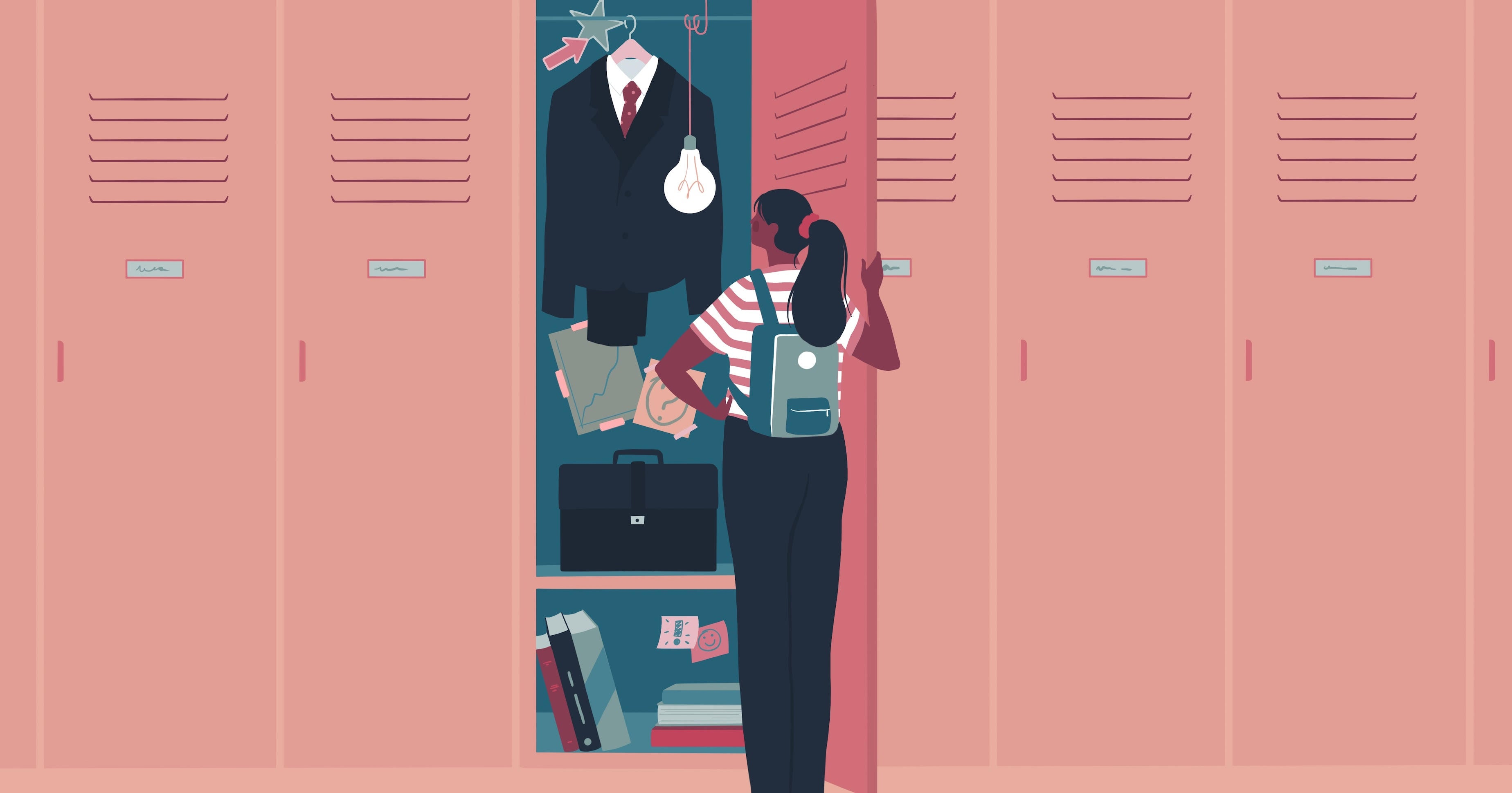 Illustration of a teen girl looking in a locker that's filled with business attire